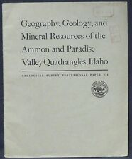 USGS AMMON and PARADISE VALLEY GEOLOGY, MINES & MINERAL RESOURCES IDAHO 1952