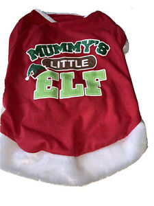 Cute Fluffy Trimmed Mummys Little Elf Christmas Dog Top Dress Large Red
