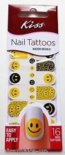 Kiss Nail Tattoos Water Decals Graffiti Smiley Face Emoji Nail Art