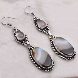 "Botswana Agate Rose Quartz Handmade Drop Dangle Earrings Jewelry 2.64"" AE 67136"