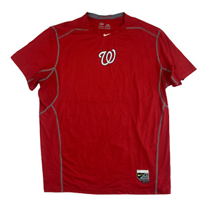 Nike Pro Washington Nationals Combat Dri-Fit Shirt Red Gray MLB Men's Size 2XL