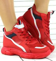 WOMENS RED HI TOP CHUNKY TRAINERS PLATFORM FASHION SNEAKERS LACE UP SPORTS SHOES