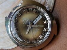 Vintage Titus Clebar Day-Date Watch w/Tropical Dial,Signed Crown,Divers SS Case