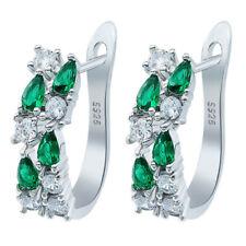 Fashion women silver green white zircon CZ Pendant Earrings Wedding Jewelry
