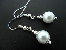 Pearl Drop Earrings. New. 8Mm. A Pair Of Short White Glass
