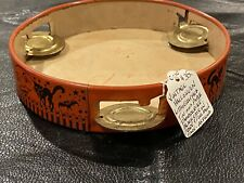 Vintage Halloween Tambourine - Lithograph Tin and Paper