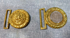 Antique Naval Officer's Brass Sword Belt Buckles