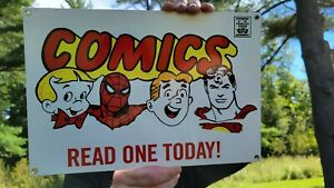 VINTAGE OLD COMICS HERO CHARACTERS PORCELAIN HEAVY METAL SIGN SPIDERMAN SUPERMAN
