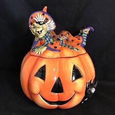 Fitz and Floyd WITCH HAZEL Halloween Pumpkin COOKIE JAR -  New in Box - RETIRED