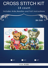 """14 Count Charted Cross Stitch Kit""""Teddy Family"""" 41x28cm"""