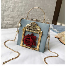 New 3D Rose Flower Pearl Chain Purse Clutch Luxury Crossbody Bags Women Box Bag
