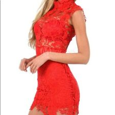 Gorgeous Sexy Sheath Lace Ruby Red Sleeveless Mini-Dress, NWT, S
