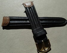 Timex Mens Black w/Brown Ends Double Padded 18mm Genuine Leather Watch Band