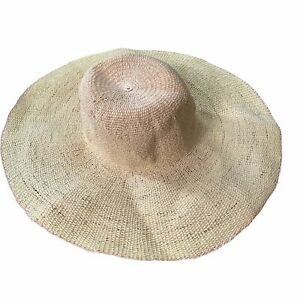 San Diego Hat Company Womens Floppy Sun Hat Paper Yellow Wide Brim Four Buttons