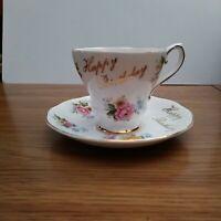 Happy Birthday by Royal Grafton fine bone china # 1224 Teacup & Saucer