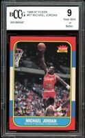 1986-87 Fleer #57 Michael Jordan Rookie Card Authentic BGS BCCG 9 Near Mint+