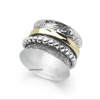 Solid 925 Sterling Silver Spinner Ring Meditation Ring Statement Ring Size EE258