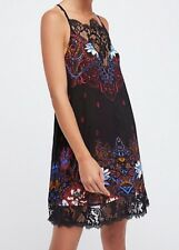 NWT Womens Free People Who's Sorry Now Printed Lace Shift Slip Dress Black XS