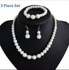 Wedding Party Crystal Jewelry Set Bridal Pearls Necklace Bracelet and Earrings