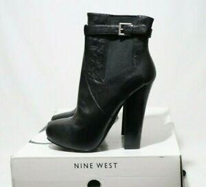 NINE WEST Size 8.5 Womens Black Leather Platform Boots RRP $199.95