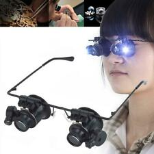 Spectacle Glasses Eye Loupe 20x LED Head Magnifying Glass Handsfree Magnifier