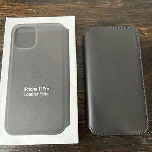 "GENUINE Apple iPhone 11 Pro (5.8"") Leather Folio Case MX062ZM/A Black PREOWNED!"