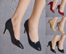 LADIES PLAIN PATENT MID HEEL CLOSED ROUND TOE SMART CLASSY OFFICE COURT SHOES