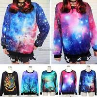 New Women Space Galaxy T shirt Sweater Sweatshirt Hoodie Pullover Top Tracksuit