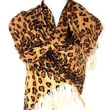 New Graduated Leopard Animal Print Brown Coffee Pashmina Soft Shawl Scarf Stole