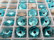 6 Light Turquoise Foiled Swarovski Rivoli Stone 1122 47ss 10mm