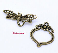 2 SETS DRAGONFLY TOGGLE CLASPS ANTIQUE BRONZE TONE