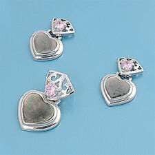USA Seller Heart 3 pcs Set Sterling Silver 925 Best Deal Jewelry Abalone