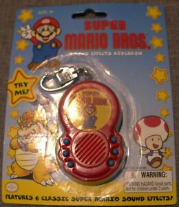 SUPER MARIO BROS. Sound Effects Keychain + 3 Brand New Batteries! Key Ring