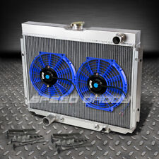 "3-ROW ALUMINUM RACING RADIATOR+2 X 10"" BLUE FAN 67-70 FORD MUSTANG/GT/FALCON V8"