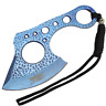 """7"""" Blue Coated Full Tang SHARP Hunting Axe Throwing Knife & Case -"""