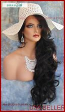 LONG WAVY HAND TIED LACE FRONT WIG #1B SOFT BLACK *GORGEOUS USA SELLER 118