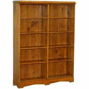 LOVELY CIRCA 1900 EDWARDIAN WALNUT & OAK DOUBLE BANK LIBRARY BOOKCASE 160CM TALL
