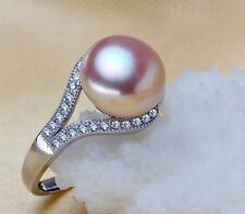 South sea genuine gold pink Purple pearl ring huge 11mm AAA Size can be resized