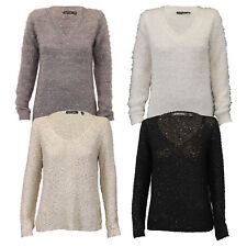 Ladies Jumper Brave Soul Womens Knitted Mohair Sweater Sequin Chiffon Winter New