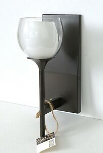 Lot of 2 Wall Sconces Bronze w/ Back Plate Double Glass Shade Modern Simplicity