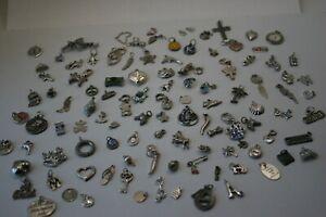 Mixed LOT Silver Tone Charms jewelry 5.6 oz Rhinestone crafting 100+pcs LOT