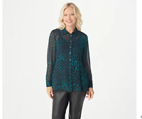 Dennis Basso Printed Chiffon Peplum Top with Knit Cami Teal Plus Size 18
