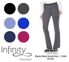 Infinity by Cherokee Women's 1124 Elastic Waist Pull-On Scrub Pant-New-Free Ship