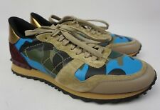 Valentino Rockrunner Men's Camo Sneakers Rockstud Blue Shoes Size 44 / 11 US