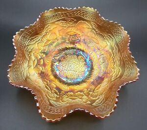 CARNIVAL FANTASTIC. OLD FENTON MARIGOLD TWO FLOWERS MASTER ICE CREAM FOOTED BOWL