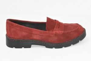 BORN Loire Red Suede Leather Slip On Penny Loafer Womens Size 8M F75105