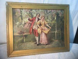 Vintage 1900s Litho print in frame  in The Garden 21in x 17in