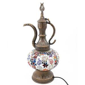 Handmade Colorful Decorative Desk Mosaic Lamp Vintage Art Style Pitcher 15''