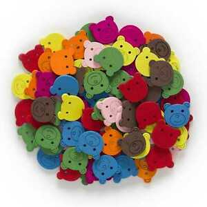 50pcs Bear Shape Wood Buttons Sewing Scrapbooking Crafts Home Making Decor 18mm