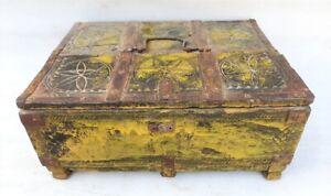 Antik Alt Selten Holz Schnitzerei Tribal Folk Kunst Merchant Schmuck Koffer Geld
